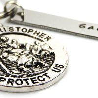 St Christopher Keyring with Personalised Name Tag – Free Delivery & Gift Box